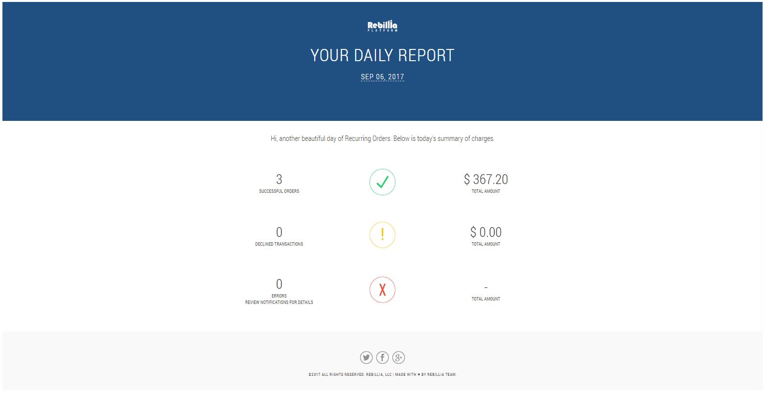 emailing system - Rebillia Platform